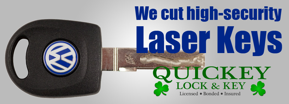 High-Security Laser Keys Cut at Quickey Lock & Key, Mobile Myrtle Beach Locksmith